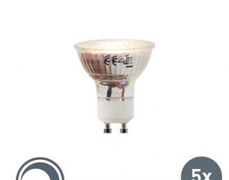 Set van 5 LED lampen 5W warm licht