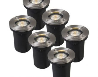 Set van 6 buiten grondspots staal incl. lichtbronnen