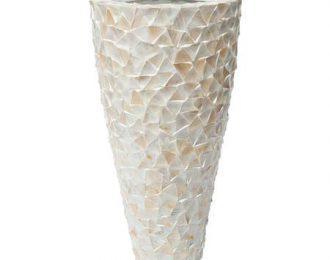 Pot 'Mother of Pearl' cremewit schelpenpot ⌀74 cm H140 cm