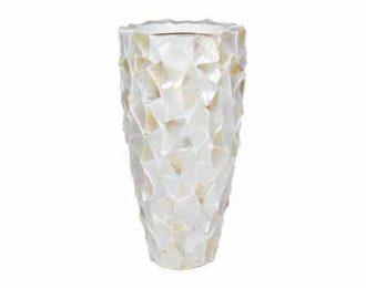Pot 'Mother of Pearl' cremewit schelpenpot ⌀40 cm H77 cm