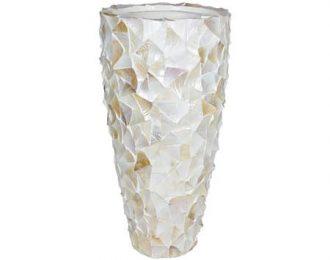 Pot 'Mother of Pearl' cremewit schelpenpot ⌀50 cm H96 cm